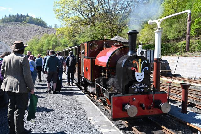 Saturday 4th May 2019. On a wonderfully sunny day a special service for the Mach Comedy Festival attendees waits in the South Platform.