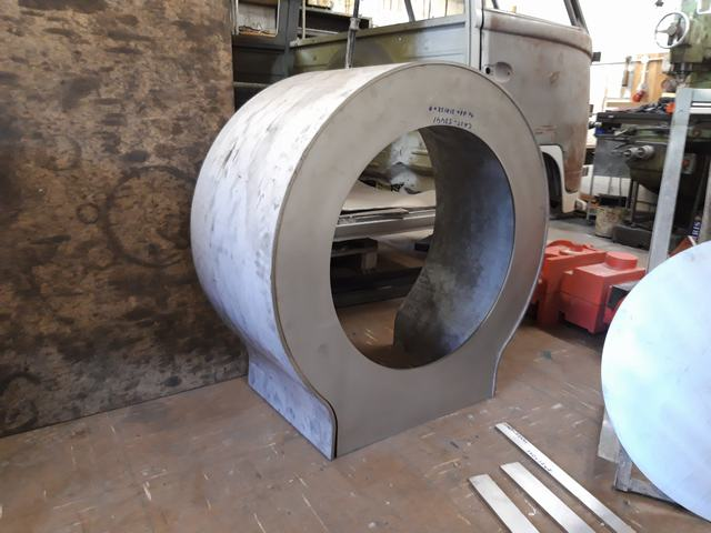 The stainless steel smokebox wrapper and front plate for No.10 supplied by Barnshaws Plate and Section Rollers near Wolverhampton