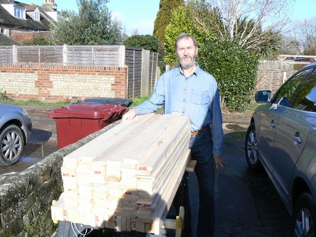 Richard has made over 200 at home in Sussex over the winter. This batch are being loaded into the car of another member to have colour and preservative applied